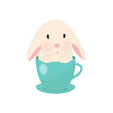 Cute rabbit in teacup, illustration, set for baby fashion Royalty Free Stock Photography
