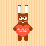 Cute rabbit with Valentine card. Royalty Free Stock Image