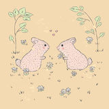 Cute rabbit vintage. Cute hand drawn illustration of baby card. suitable for printing on a t-shirt or sweatshirt, shirt design Stock Images