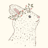 Cute rabbit. Vintage portrait. Suitable for printing on a t-shirt or sweatshirt, shirt design, print rabbit, sketch rabbit, Childrens fashion shirt. Cute rabbit Royalty Free Stock Image