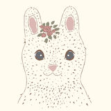 Cute rabbit. Vintage portrait. Suitable for printing on a t-shirt or sweatshirt, shirt design, print rabbit, sketch rabbit, Childrens fashion shirt. Cute rabbit Royalty Free Stock Photos