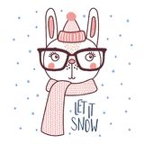 Cute rabbit in a warm hat. Hand drawn vector portrait of a cute funny bunny in a warm hat, muffler, glasses, text Let it snow. Isolated objects on white Stock Photo