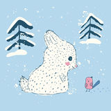 Cute rabbit in the winter. Children`s illustration Stock Photography