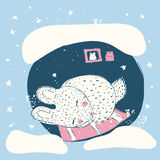 Cute rabbit in the winter. Children`s illustration. Rabbit sleeping in a hole. Cute rabbit in the winter. Children`s illustration Stock Photos