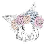 Cute rabbit in a wreath of flowers. Rabbit vector. Stock Image