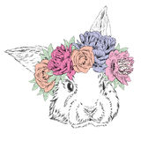 Cute rabbit in a wreath of flowers. Rabbit vector. Royalty Free Stock Photos