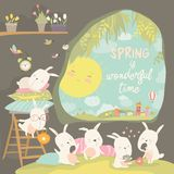 Cute rabbits awaking in hole. Hello spring royalty free illustration