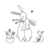 Cute rabbits, a basket of carrots and a bird. vector illustration