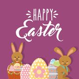 Cute rabbits with baskets floral and eggs happy easter. Vector illustration Stock Photo