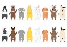 Cute rabbits border set vector illustration
