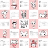 Cute rabbits Calendar 2017. Calendar 2017. Cute rabbits for every month. Vector. Isolated Stock Image