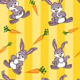 Cute rabbit and carrots Seamless Background Royalty Free Stock Photography