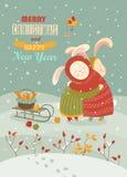 Cute rabbits celebrating Christmas. Vector greeting card Royalty Free Stock Photos