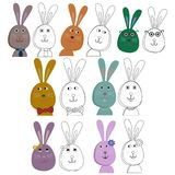 Cute rabbits. Colouring pages Stock Image