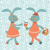 Cute rabbits couple Royalty Free Stock Image