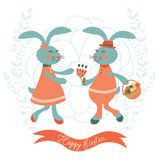 Cute rabbits couple Stock Photo