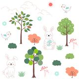 Cute rabbits in the forest seamless pattern for happy Easter,kid product,print,fabric or textile stock illustration