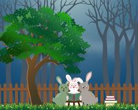 Cute rabbits the gang reading books under the tree,background for World book day or International Education Week. Vector illustration royalty free illustration