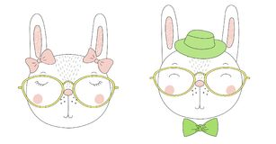Cute rabbits girl and boy portraits Stock Photography
