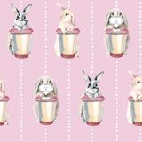 Cute rabbits on a pink background. Easter bunnies. gentle seamless pattern. hare with a cup of coffee royalty free illustration