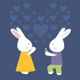 Cute rabbits with ring, love card, marry Royalty Free Stock Images