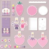 Cute rabbits scrapbook elements Stock Photos