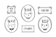 Cute rabbits. Set of hand drawn decorative vintage photo frames with cute rabbits. Doodles, sketch for your design.  on white. Vector illustration Stock Photos