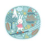 Cute rabbits skis Stock Image