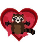 Cute Raccoon. Celebrates valentines day Stock Photo