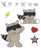 Cute raccoon baby cartoon expression set Stock Photography