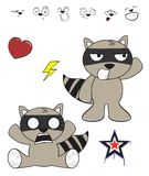 Cute raccoon baby cartoon expression set2 Royalty Free Stock Image