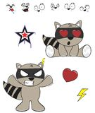 Cute raccoon baby cartoon expression set4 Royalty Free Stock Images