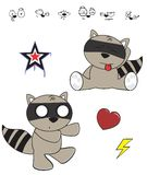 Cute raccoon baby cartoon expression set6 Royalty Free Stock Image