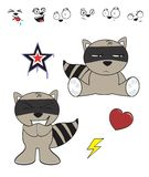 Cute raccoon baby cartoon expression set7 Royalty Free Stock Images