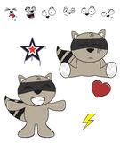 Cute raccoon baby cartoon expression set8 Stock Photo