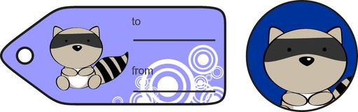 Cute raccoon baby cartoon gift card Stock Photography