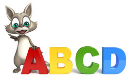 Cute Raccoon cartoon character with abcd sign. 3d rendered illustration of Raccoon cartoon character with abcd sign Royalty Free Stock Image