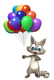 Cute Raccoon cartoon character with baloon. 3d rendered illustration of Raccoon cartoon character with baloon Royalty Free Stock Photo