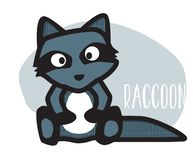 Cute raccoon cartoon character stock illustration