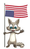 Cute Raccoon cartoon character with flag. 3d rendered illustration of Raccoon cartoon character with flag Stock Photo