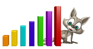 Cute Raccoon cartoon character with graph Stock Photography