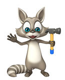 Cute Raccoon cartoon character with hammer Royalty Free Stock Images