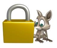 Cute Raccoon cartoon character with lock Stock Photos