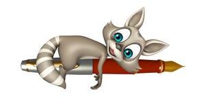 Cute Raccoon cartoon character with pen. 3d rendered illustration of Raccoon cartoon character with pen Stock Photos