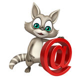 Cute Raccoon cartoon character with at the rate Royalty Free Stock Photos