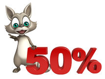 Cute Raccoon cartoon character with 50% sign Stock Images