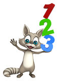 Cute Raccoon cartoon character with 123 sign. 3d rendered illustration of Raccoon cartoon character with 123 sign royalty free illustration