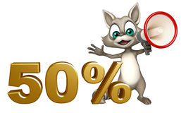 Cute Raccoon cartoon character with 50% sign and loud speaker Royalty Free Stock Image