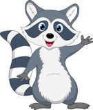 Cute raccoon cartoon waving hand