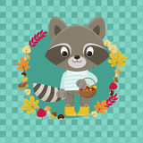 Cute Raccoon character with basket full of autumn figments. Stock Photos